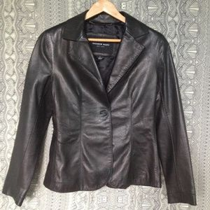 ANDREW MARC Textured Leather Tailored Blazer